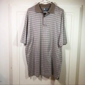 Jos A Bank Leadbetter Golf Shirt EUC Tan Blue Sz L